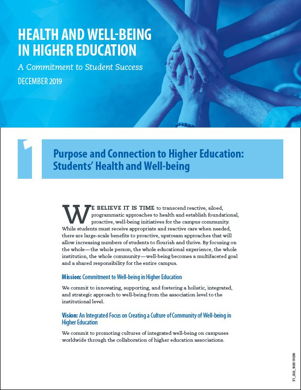 Health and Well‑being in Higher Education: A Commitment to Student Success