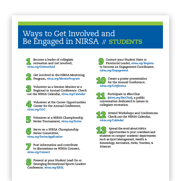 Download NIRSA Student Ways to Get Involved PDF