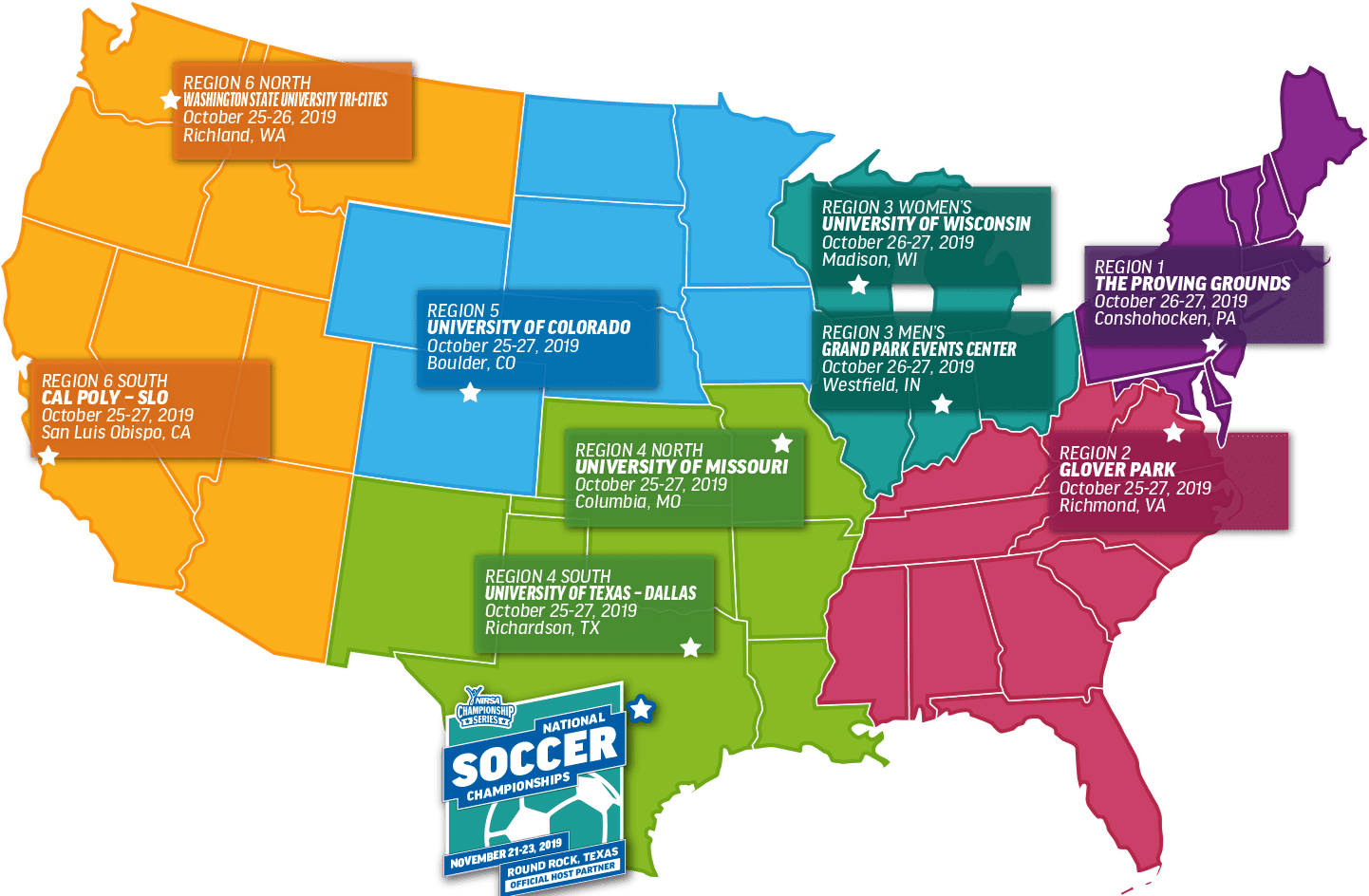 Map of NIRSA Regional Soccer Tournaments in 2019